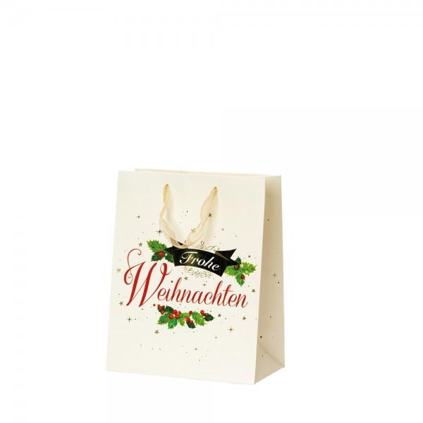 """Papier Tragetaschen """"Frohe Weihnachten"""" 18x10x22,7cm"""