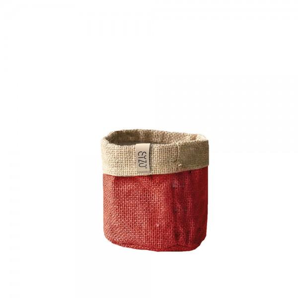 Jutebag Ø 11 cm Höhe ca.11cm Rot