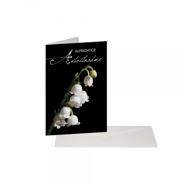Trauerkarte Schwarz Schneeglöckchen