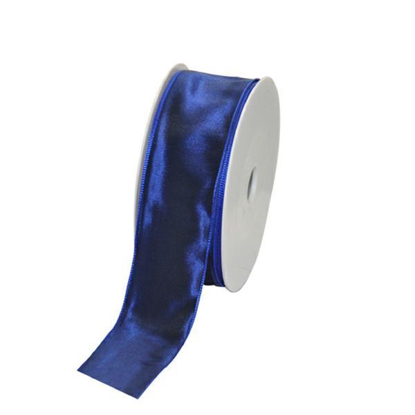 Geschenkband Stoff m. Draht 40mm/25Meter dunkelblau