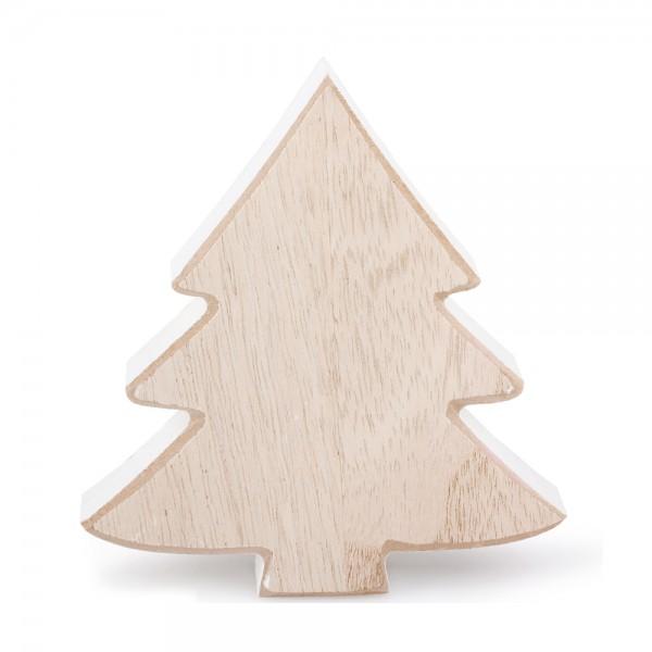 Deko Baum Holz 12x2x11cm weiß