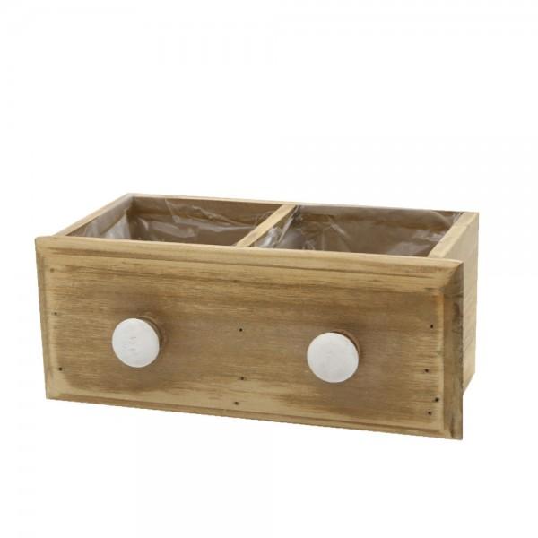 Holzschublade geteilt 22x10x9 cm Heidi Braun