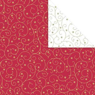 Geschenkpapier Rolle 50cm 250Meter Ornament Rot/Weiß