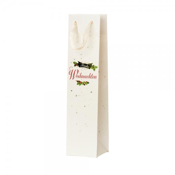 """Flaschen Tragetaschen """"Frohe Weihnachten"""" 9x9x38cm"""