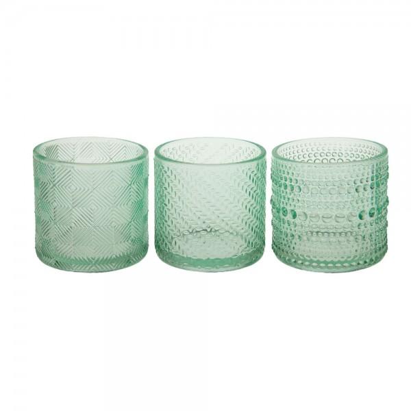 Windlichter aus Glas 7x7x6.8 cm 3-fach sortiert Grün