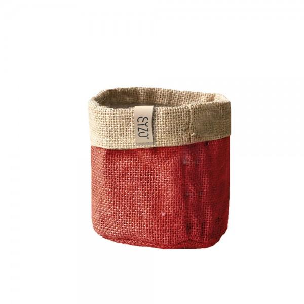 Jutebag Ø 15 cm Höhe ca.15 cm Rot