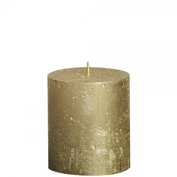 Stumpenkerze Rustik Metallic 8cm Ø 6,8cm Gold