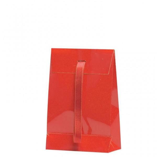 Geschenktasche rot 10x5x15+4cm