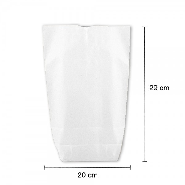 Bodenbeutel weiß 1-lagig 20 x 29 cm