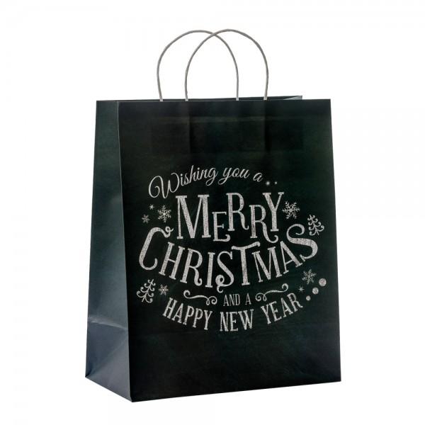 "Papier Tragetaschen ""Merry XMas"" 26,4x13,6x32,7cm"