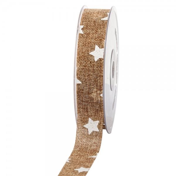Geschenkband in Juteoptik Natur/Sterne weiß 25mm 20m