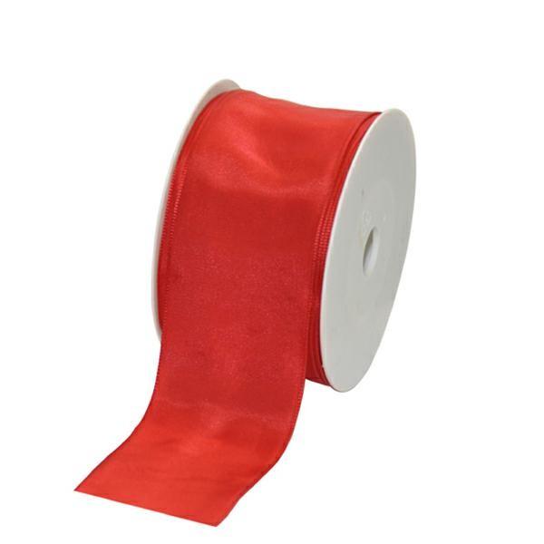 Geschenkband Stoff m. Draht 60mm/25Meter rot