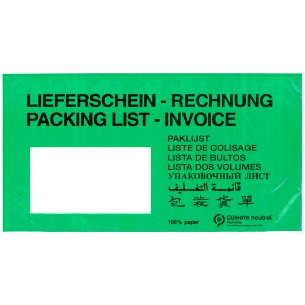 Begleitpapiertaschen 100% Papier grün umweltfreundlich