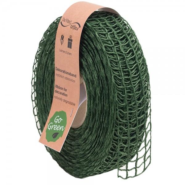 Gitterband aus Leinen Natur Alma 40mm/20Meter Grün