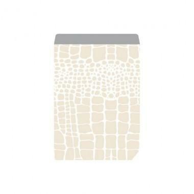 Geschenkflachbeutel weiß Croco 17x23+3cm