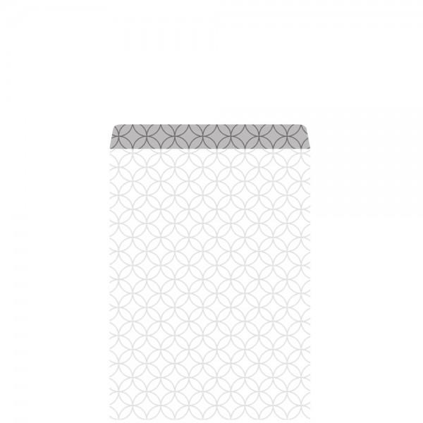 Geschenkflachbeutel Circles weiß/silber 11,5x17,1+2,8cm