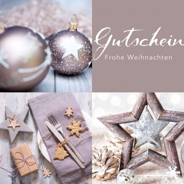 Weihnachtsgutschein Klappkarte Silver Star