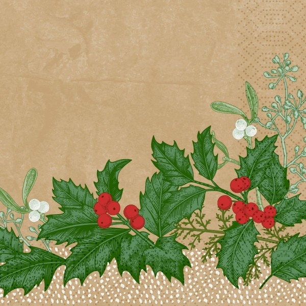 DUNI Zelltuch Serviette 33x33cm 1/4F.Snowy Berries
