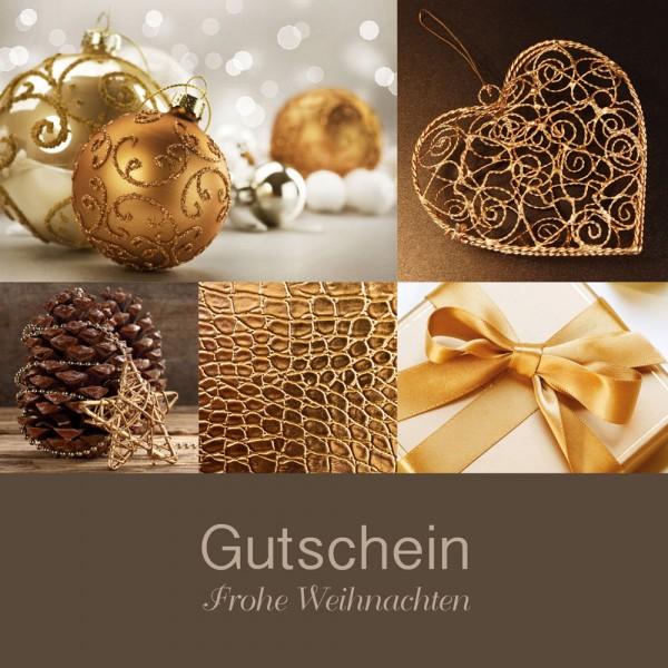 Weihnachtsgutschein Klappkarte Elegance braun/gold