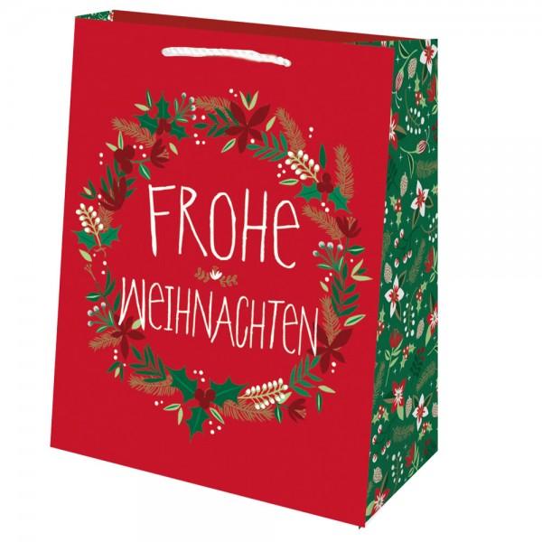 Tragetaschen Weihnachtskranz rot 18x10x23 cm