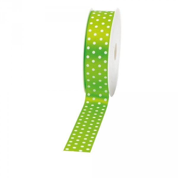 "Geschenkband ""Punkte"" 25mm 20Meter grün"