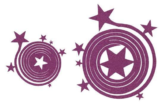 Filzspiralen Sterne violett 1xgroß 2xklein