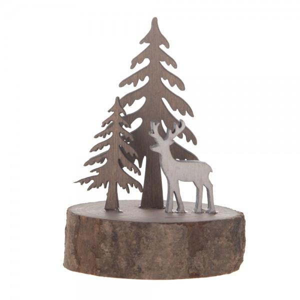 Deko Reh auf Holzplatte braun/weiß 6,5x9 cm