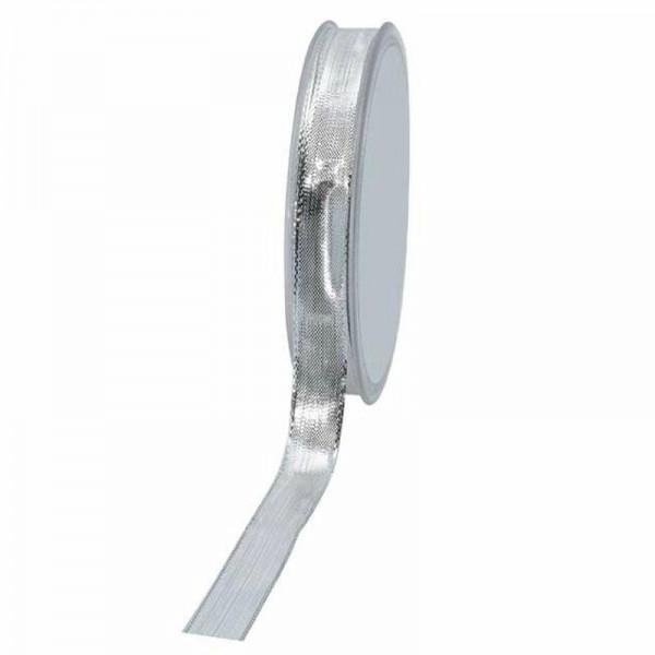 Geschenkband glänzend 15mm 25Meter silber