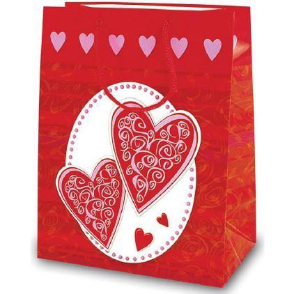Tragetaschen Herz rot / weiß 18x10x23 cm