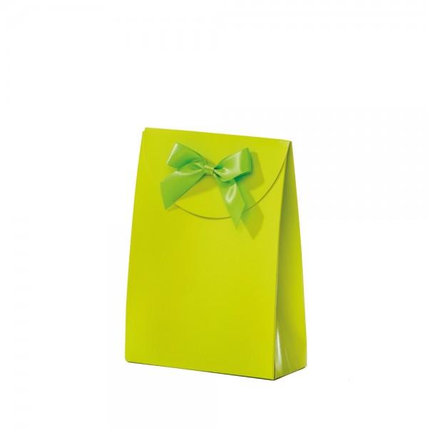 Geschenktasche 13,5x5,5x18,5+6,7cm grün