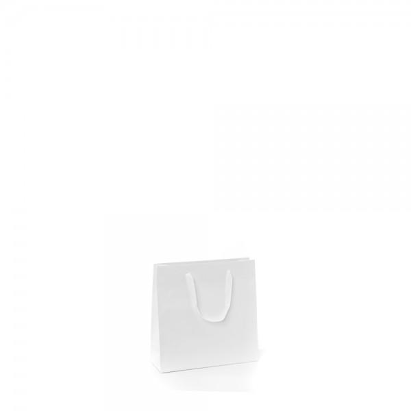 Tragetasche 14x7x14+4cm weiß mit Chessband