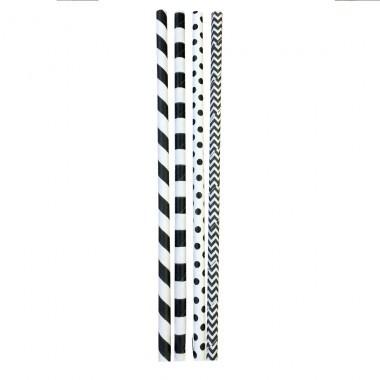 Trinkhalme Papier 6 mm x 200 mm schwarz/weiß sortiert