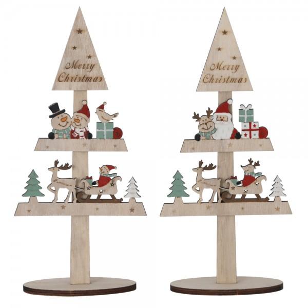 Weihnachtsbaum 15x6x33cm 2-fach sortiert Woodcut