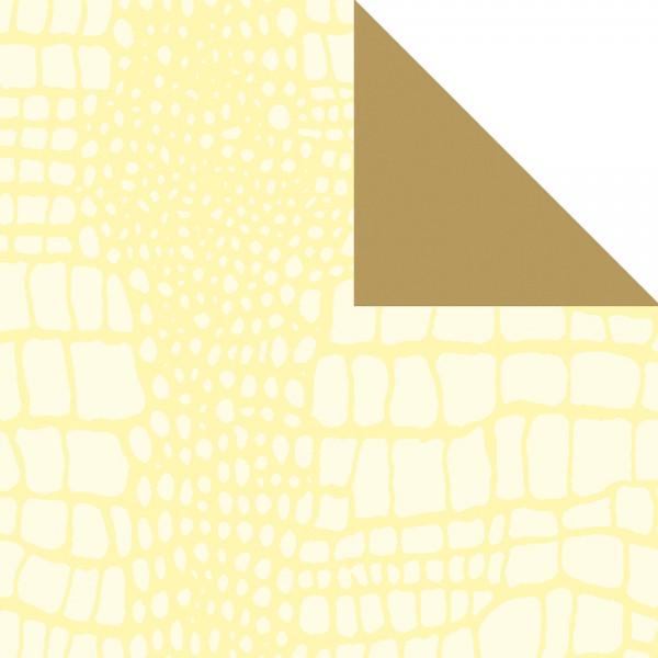 Geschenkpapier Rolle 50cm 50Meter creme/gold Kroko