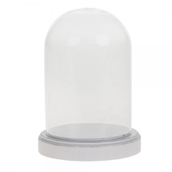 Glasglocke mit Holzplatte 10x15 cm weiß