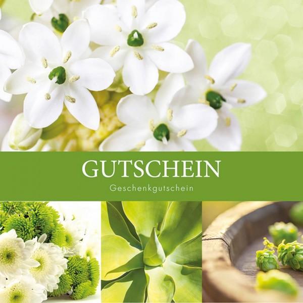 Gutschein-Klappkarte Blumen grün