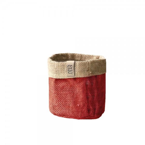 Jutebag Ø 13 cm Höhe ca.13cm Rot