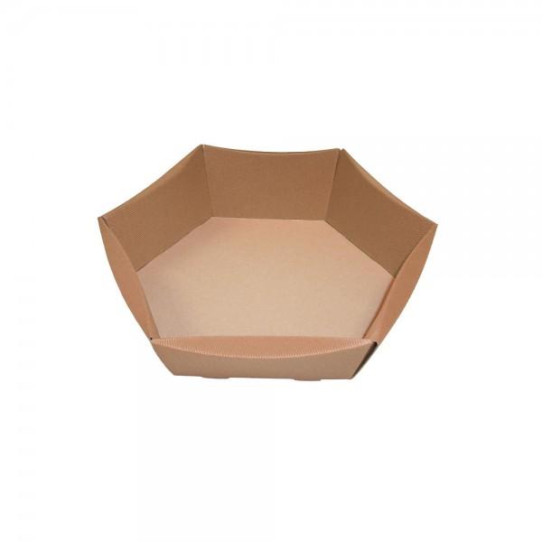 Präsentkarton 6-eckig 32x26x6,5-12cm natur