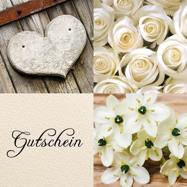 Gutschein-Klappkarte Blumen creme