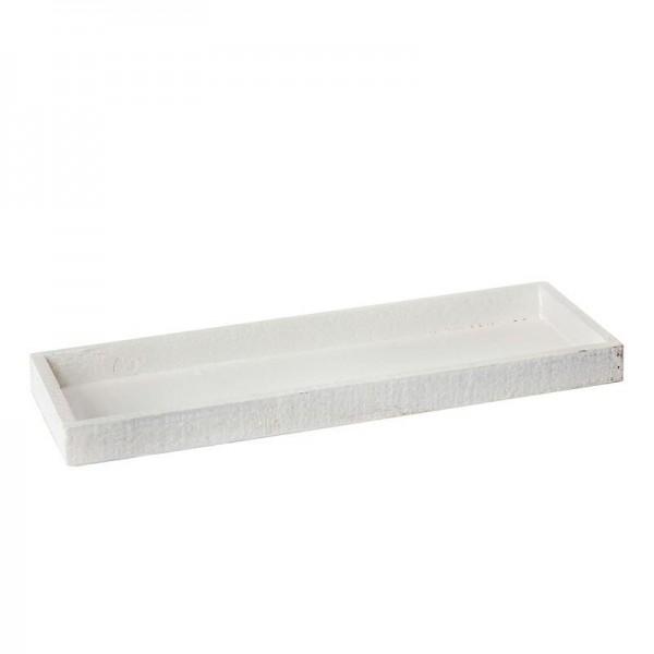 Holztablett 42x14x3 cm Weiß