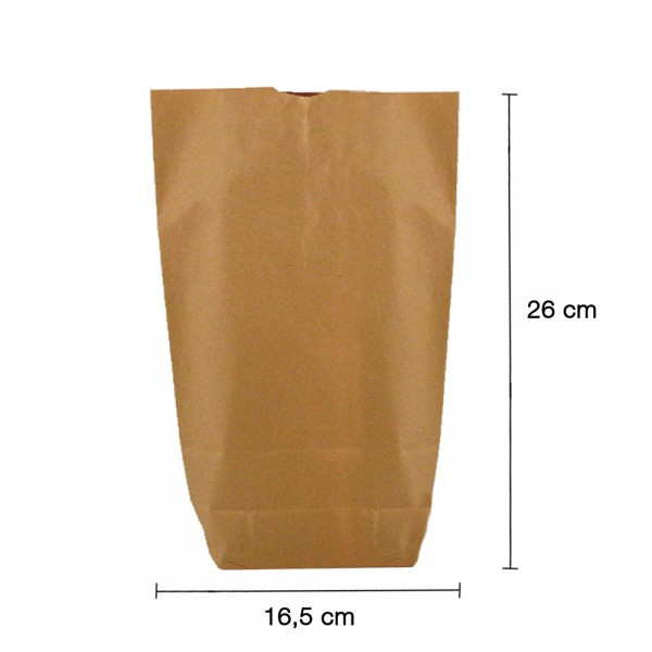 Bodenbeutel braun 1-lagig 17x26cm