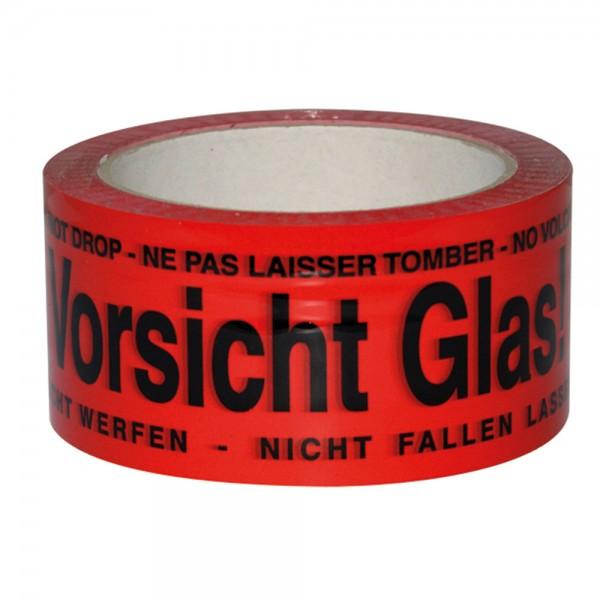 """Paketband rot """"Vorsicht Glas"""" 50mm 66Meter"""