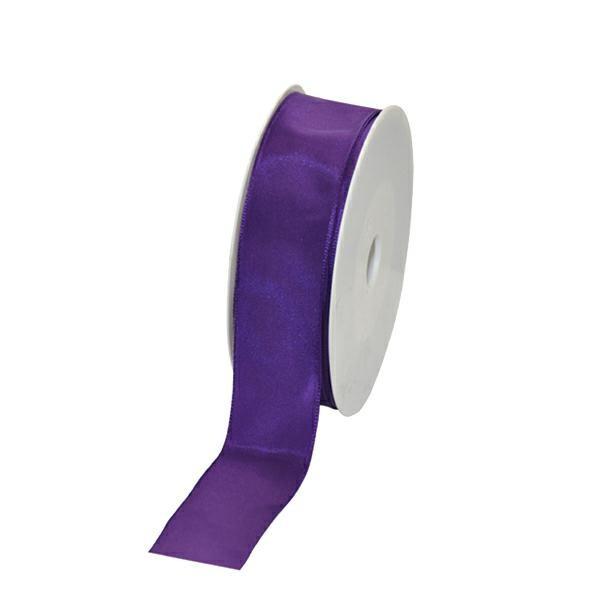 Geschenkband Stoff m. Draht 25mm/25Meter lila
