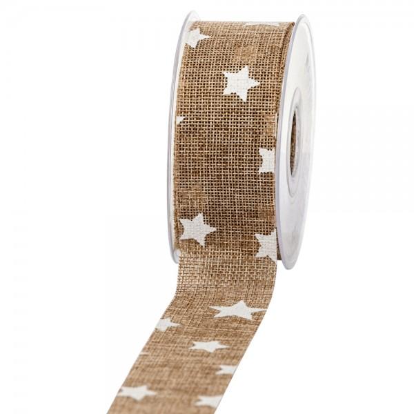 Geschenkband in Juteoptik Natur/Sterne weiß 40mm 20m