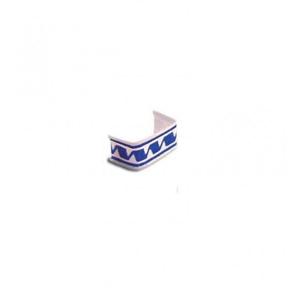 Beutelverschluss u-förmig 3cm blau/weiß
