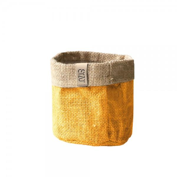 Jutebag Ø 15 cm Höhe ca.15 cm Gelb