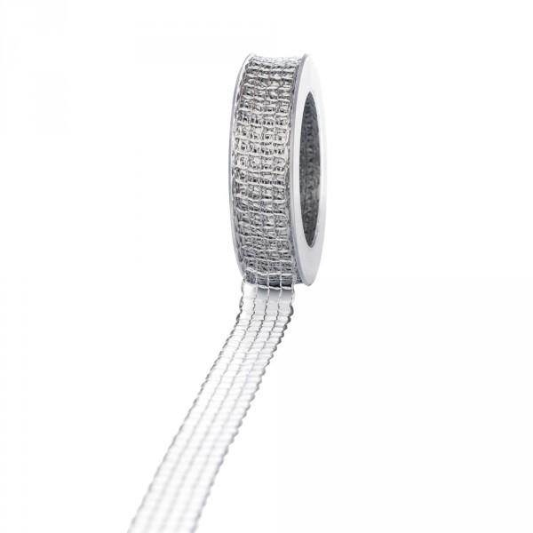 Geschenkband Gitter 25mm/20 Meter grau