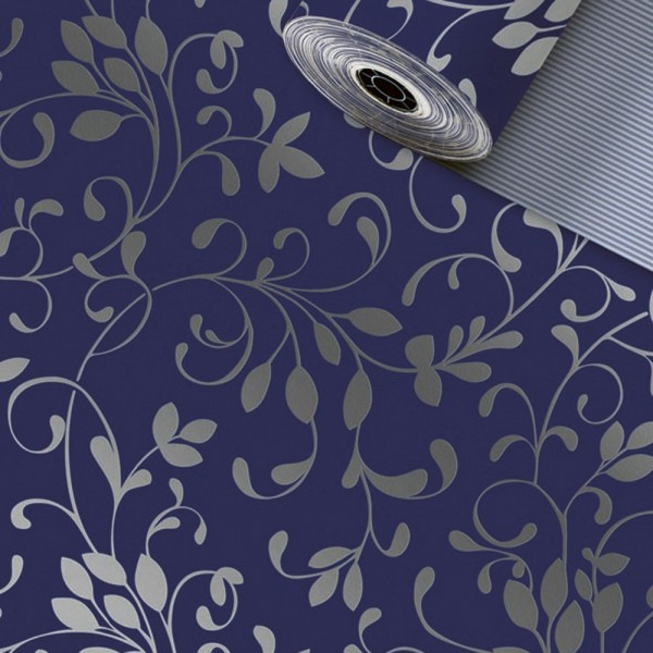 Geschenkpapier Rolle 50cm 50Meter Miron dunkelblau