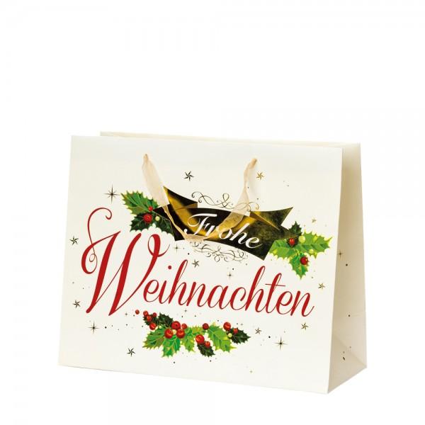 """Papier Tragetaschen """"Frohe Weihnachten"""" 32,7x13,6x26,4cm"""