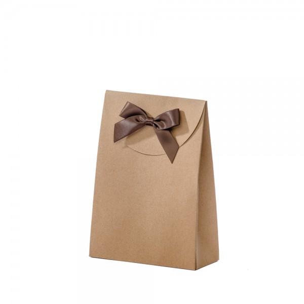 Geschenktasche 13,5x5,5x18,5+6,7cm braun